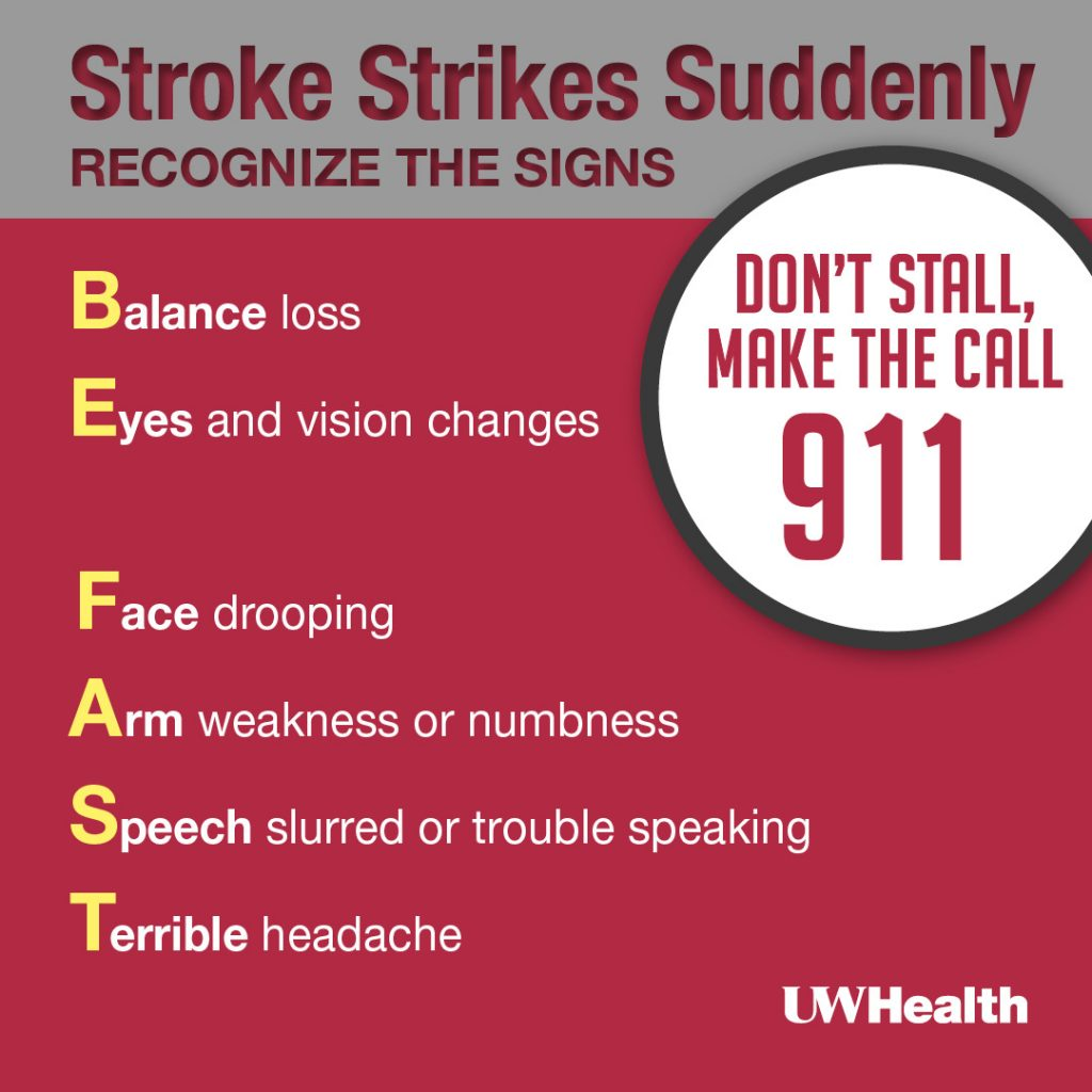 UW Health adopted graphic of the BE FAST mnemonic. B= Balance loss, E= Eyes and vision changes, F= Face drooping, A= Arm weakness or numbness, S= speech slurred or trouble speaking, T= terrible headache. These are signs of a stroke. Stroke strikes suddenly, don't stall call 911